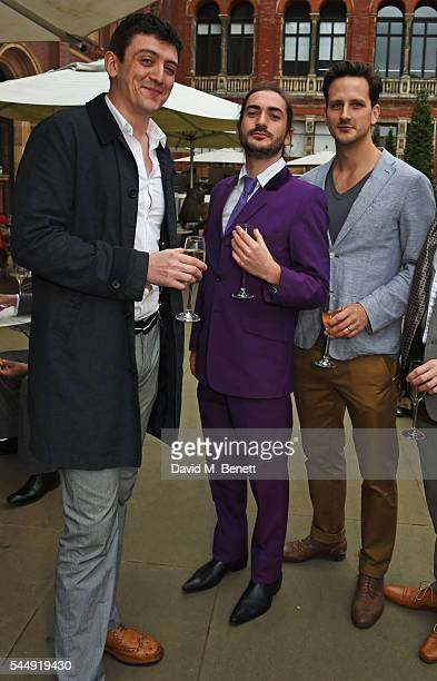 John Dagleish George Maguire and guest attend the Olivier Awards Summer Party in celebration of the new exhibition 'Curtain Up' at The VA on July 4...