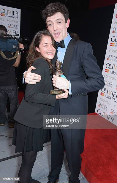 John Dagleish winner of Best Actor In A Musical for 'Sunny Afternoon' poses in the winners room at The Olivier Awards at The Royal Opera House on...