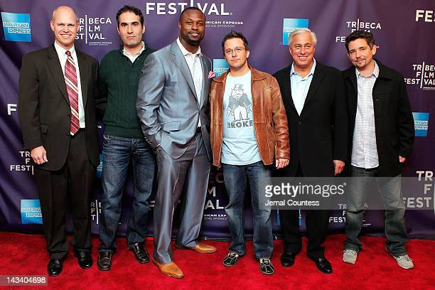 John Dahl Connor Schell NFL player Bart Scott director Billy Corben Ed Butowsky and Alfred Spellman attend the Broke Premiere during the 2012 Tribeca...