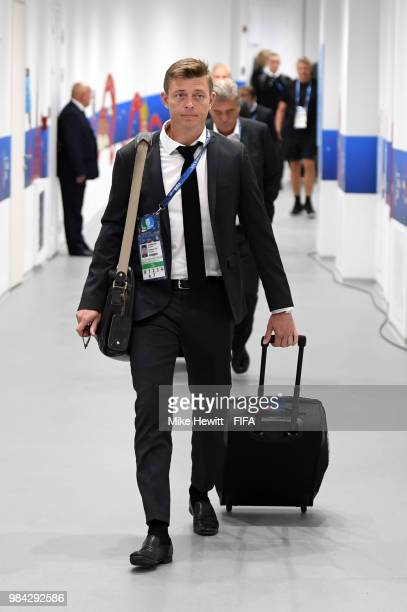 John Dahl Tomasson assistant manager anager of Denmark arrives at the stadium prior to the 2018 FIFA World Cup Russia group C match between Denmark...