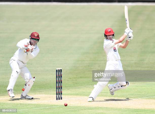 John Dalton of the Redbacks bats during day one of the Sheffield Shield match between Queensland and South Australia at Cazaly's Stadium on December...