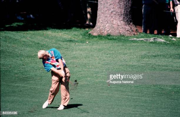 John Daly blasts off the fairway during the 1993 Masters Tournament at Augusta National Golf Club in April 1993 in Augusta Georgia