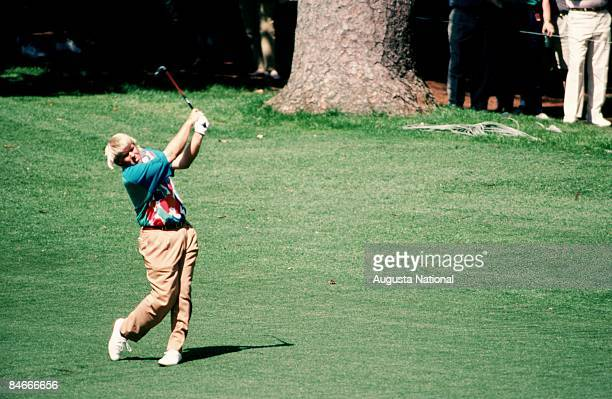 John Daly blasts off the fairway during the 1993 Masters Tournament at Augusta National Golf Club on April 1993 in Augusta Georgia