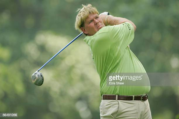 John Daly hits a shot during the second round of the 2005 PGA Championship at Baltusrol Golf Club on August 12, 2005 in Springfield, New Jersey.