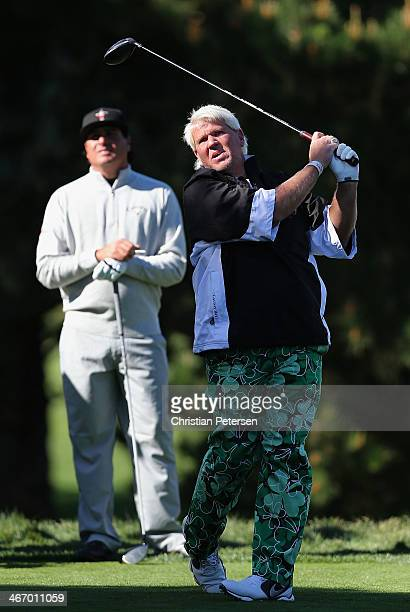 John Daly hits a tee shot the second hole during a practice round for the ATT Pebble Beach National ProAm at Pebble Beach Golf Links on February 5...