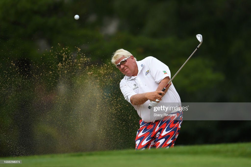 John Daly hits from a green side bunker on the first hole during the first round of the Ally Challenge presented by McLaren at Warwick Hills Golf & Country Club on September 14, 2018 in Grand Blanc, Michigan.