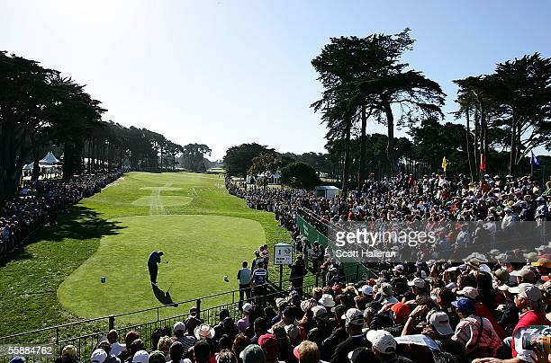 John Daly hits his tee shot on the frist hole during the final round of the WGC American Express Championship at Harding Park Golf Course on October...