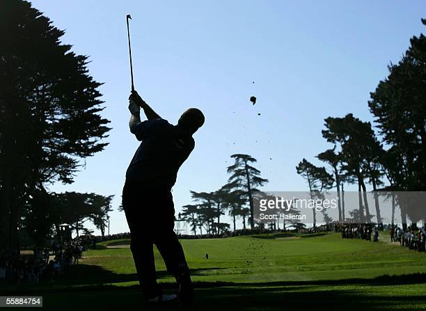 John Daly hits his tee shot to the third green during the final round of the WGC American Express Championship at Harding Park Golf Course on October...