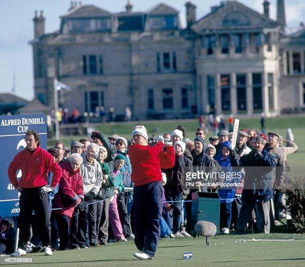 John Daly in action for the United during his match against Mark Mouland of the Welsh team during the Alfred Dunhill Cup golf competition held at the...