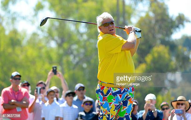 John Daly makes a tee shot on the third hole during the final round of the Toshiba Classic at the Newport Beach Country Club on October 9 2016 in...
