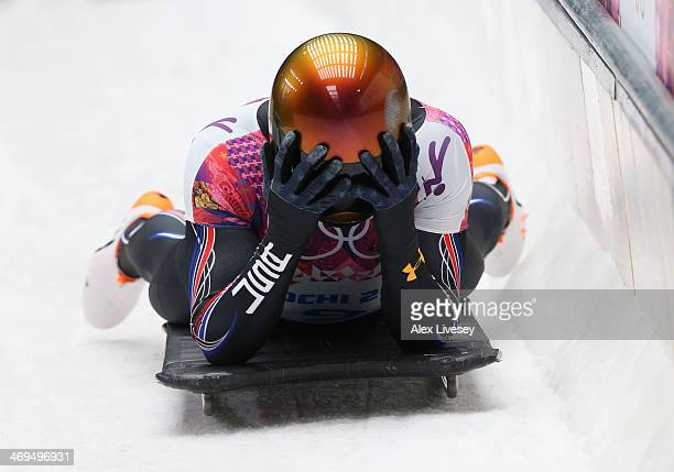 John Daly of the United States dejected after his run during the Men's Skeleton on Day 8 of the Sochi 2014 Winter Olympics at Sliding Center Sanki on...