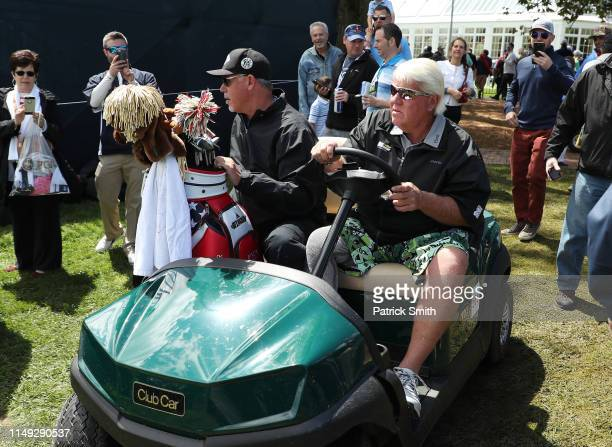 John Daly of the United States drives a golf cart during a practice round prior to the 2019 PGA Championship at the Bethpage Black course on May 15...