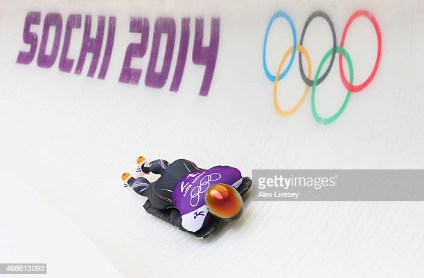 John Daly of the United States makes a run during a Men's Skeleton training session on Day 4 of the Sochi 2014 Winter Olympics at the Sanki Sliding...