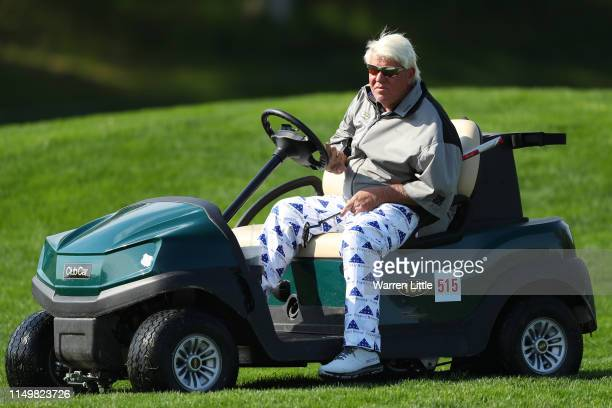 John Daly of the United States on the fifth hole during the second round of the 2019 PGA Championship at the Bethpage Black course on May 17 2019 in...