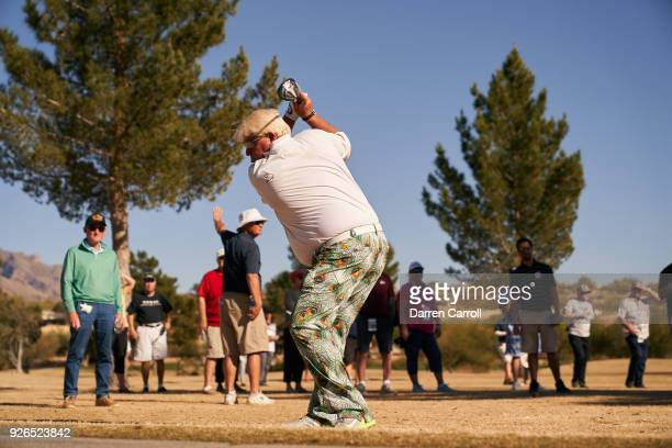 John Daly of the United States plays his second shot at the eighth hole during the first round of the 2018 Cologuard Classic at Omni Tucson National...