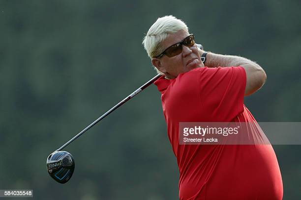 John Daly of the United States plays his shot from the sixth tee during the first round of the 2016 PGA Championship at Baltusrol Golf Club on July...