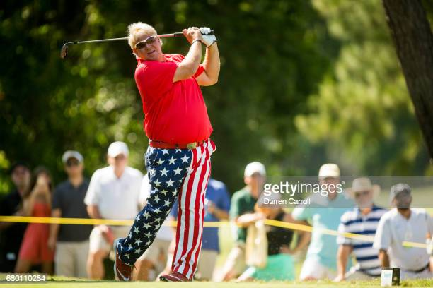 John Daly of the United States plays his tee shot at the eighteenth hole during the third round of the PGA TOUR Champions Insperity Invitational at...