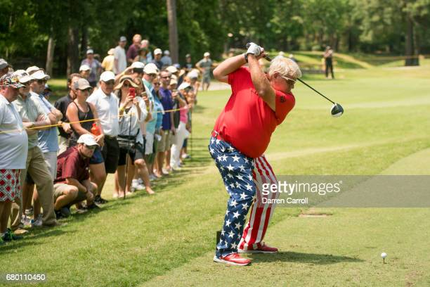 John Daly of the United States plays his tee shot at the twelfth hole during the third round of the PGA TOUR Champions Insperity Invitational at The...