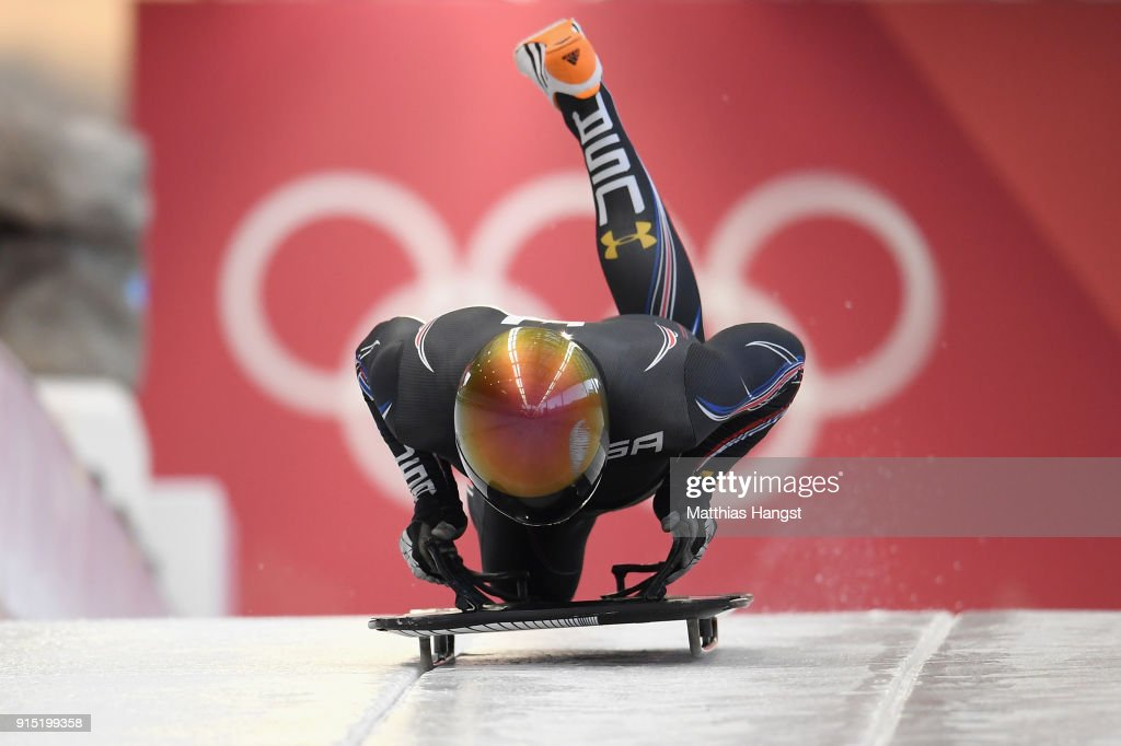 John Daly of the United States practices during Men's Skeleton training ahead of the PyeongChang 2018 Winter Olympic Games at the Olympic Sliding Centre on February 7, 2018 in Pyeongchang-gun, South Korea.