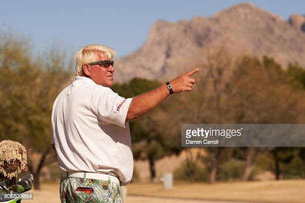 John Daly of the United States prepares to play his second shot at the eighth hole during the first round of the 2018 Cologuard Classic at Omni...