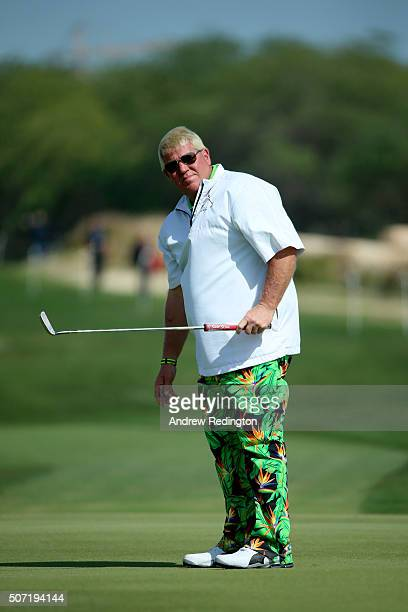John Daly of the United States putts on the 9th green during the second round of the Commercial Bank Qatar Masters at the Doha Golf Club on January...