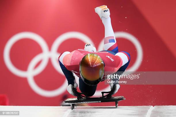 John Daly of the United States slides during the Men's Skeleton at Olympic Sliding Centre on February 16, 2018 in Pyeongchang-gun, South Korea.