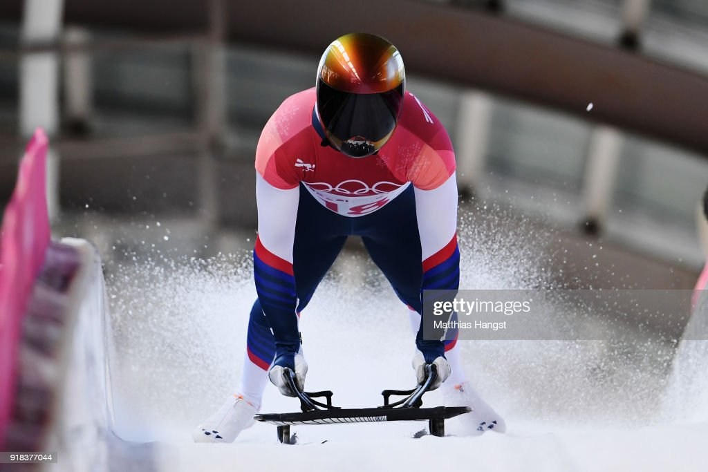 John Daly of the United States slides into the finish area during the Men's Skeleton heats on day six of the PyeongChang 2018 Winter Olympic Games at the Olympic Sliding Centre on February 15, 2018 in Pyeongchang-gun, South Korea.