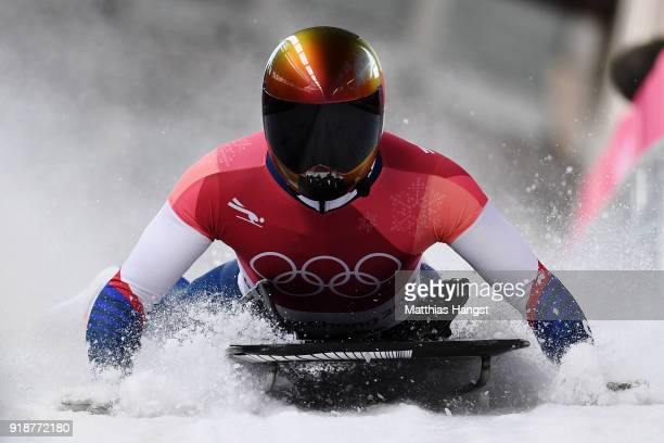 John Daly of the United States slides into the finish area during the Men's Skeleton heats at Olympic Sliding Centre on February 16 2018 in...