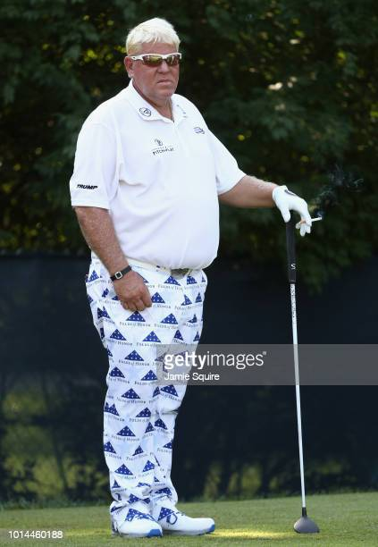 John Daly of the United States stands on the ninth tee during the second round of the 2018 PGA Championship at Bellerive Country Club on August 10...
