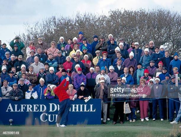 John Daly of the United States team teeing off during the Alfred Dunhill Cup golf competition held at the St Andrews Golf Course Scotland 14th...