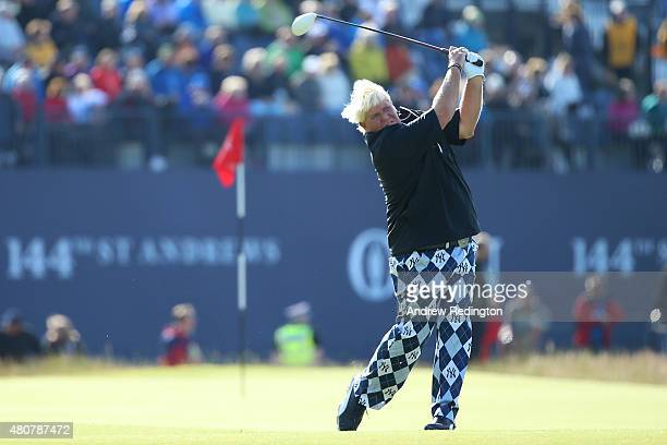 John Daly of the United States tees off on the 18th during the Champion Golfers' Challenge ahead of the 144th Open Championship at The Old Course on...