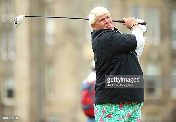 John Daly of the United States tees off on the 2nd hole during the first round of the 144th Open Championship at The Old Course on July 16 2015 in St...