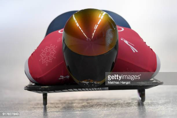 John Daly of the United States trains during the Mens Skeleton training session on day four of the PyeongChang 2018 Winter Olympic Games at Olympic...