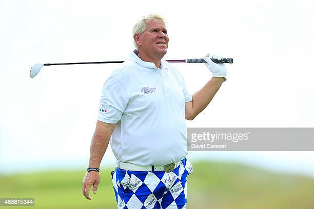 John Daly of the United States watches a shot on the 18th hole during the first round of the 2015 PGA Championship at Whistling Straits on August 13...