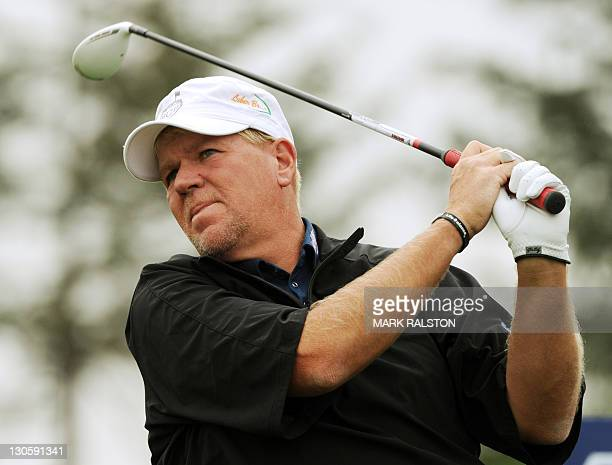John Daly of the US tees off during the Lake Malaren Shanghai Masters golf tournament in Shanghai on October 27 2011 While the October 2730...
