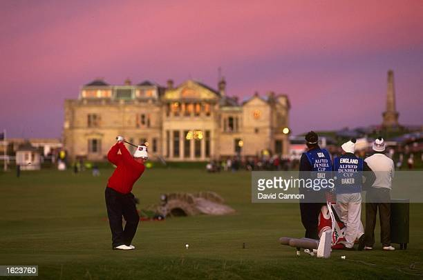 John Daly of the USA drives at the 18th hole in front of the clubhouse during the Alfred Dunhill Cup at St Andrews in Scotland USA won the event...