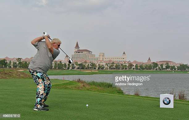 John Daly of the USA hits his teeshot on the ninth hole during the Pro Am event prior to the start of the BMW Masters at Lake Malaren Golf Club on...
