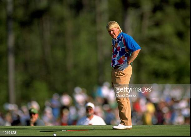 John Daly of the USA misses his putt during the US Masters at the Augusta National Golf Club in Georgia USA Mandatory Credit David Cannon/Allsport