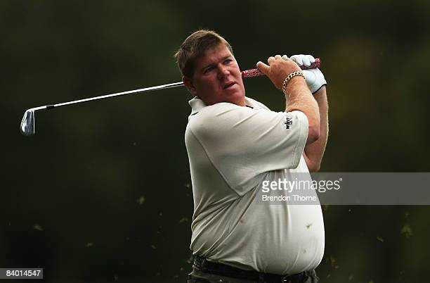 John Daly of the USA plays an approach shot on the 15th hole during the second round of the 2008 Australian Open at The Royal Sydney Golf Club on...