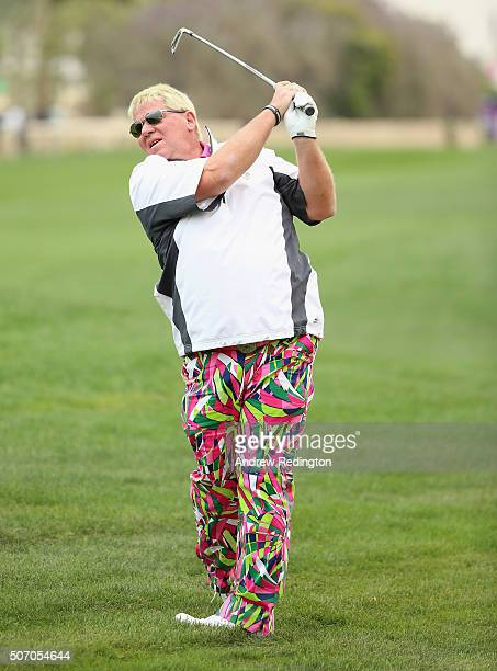 John Daly of the USA plays his second shot on the tenth hole during the first round of the Commercial Bank Qatar Masters at Doha Golf Club on January...