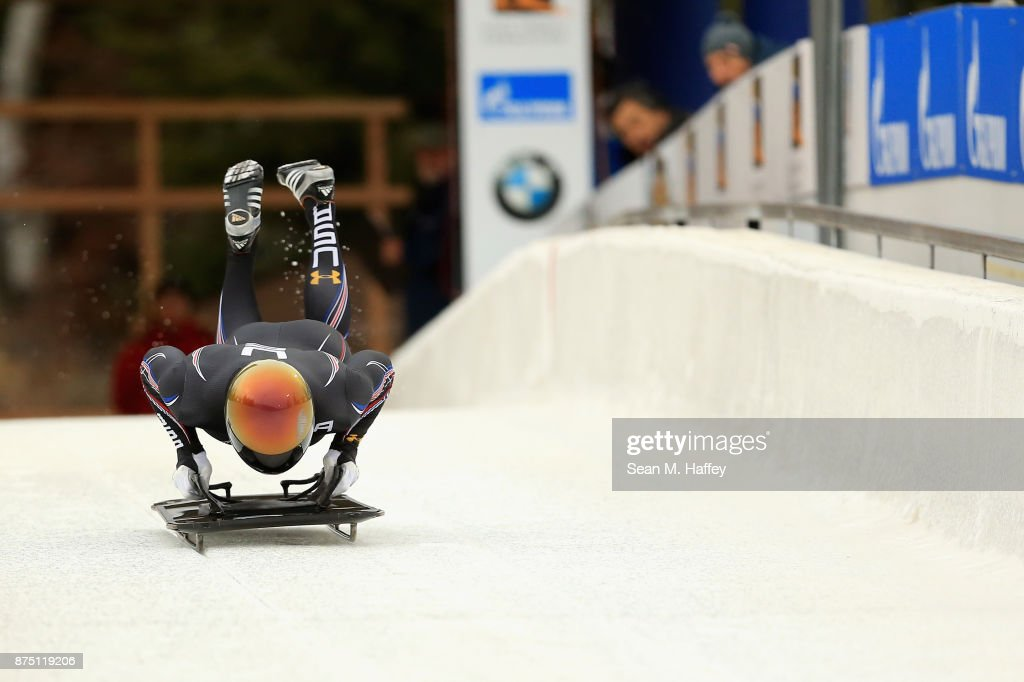 John Daly of the USA takes a training run in the Men's Skeleton during the BMW IBSF Bobsleigh + Skeleton World Cup at Utah Olympic Park November 16, 2017 in Park City, Utah.