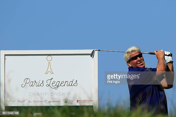 John Daly of United States in action during the first round of the Paris Legends Championship played on L'Albatros course at Le Golf National on...