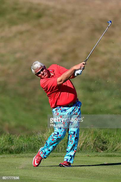 John Daly of United States in action during the second round of the Paris Legends Championship played on L'Albatros Course at Le Golf National on...