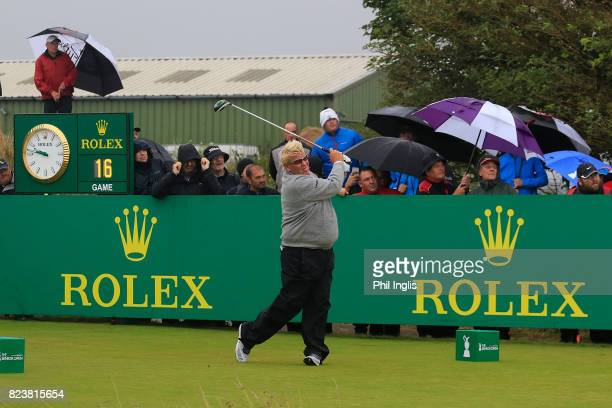 John Daly of United States in action during the second round of the Senior Open Championship presented by Rolex at Royal Porthcawl Golf Club on July...