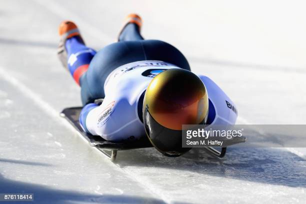 John Daly of USA compete in the Men's Skeleton during the BMW IBSF Bobsleigh and Skeleton World Cup at Utah Olympic Park on November 18 2017 in Park...