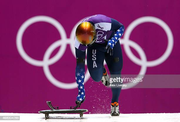 John Daly of USA in action during a Men's Skeleton training session on Day 3 of the Sochi 2014 Winter Olympics at the Sanki Sliding Center on...