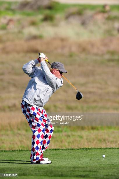 John Daly plays a shot on the 16th hole during round one of the ATT Pebble Beach National ProAm at Monterey Peninsula Country Club Shore Course on...
