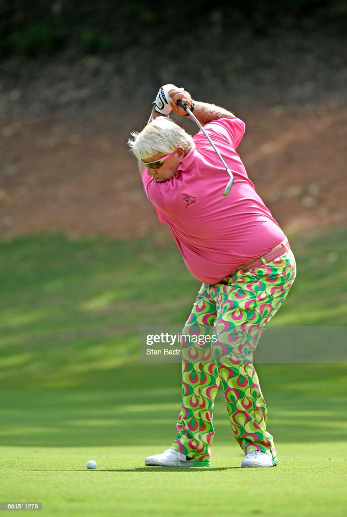 John Daly plays a shot on the the third hole during the first round of the PGA TOUR Champions Regions Tradition at Greystone Golf & Country Club on May 18, 2017 in Birmingham, Alabama.