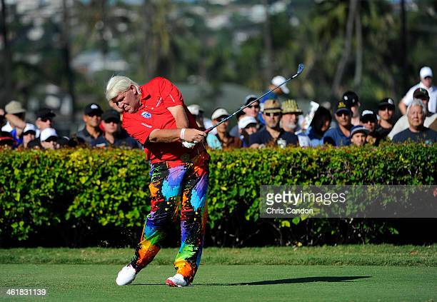 John Daly plays from the 10th tee during the third round of the Sony Open in Hawaii at Waialae Country Club on January 11 2014 in Honolulu Hawaii