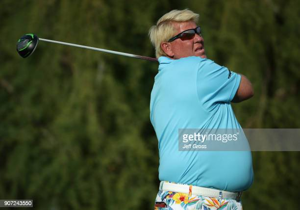 John Daly plays his shot from the 18th tee during the second round of the CareerBuilder Challenge at the TPC Stadium Course at PGA West on January 19...